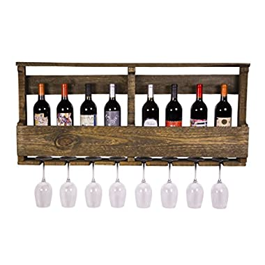 DAKODA LOVE - The Original Wine Rack, USA Handmade Reclaimed Wood, Wall Mounted, 8 Bottle 8 Long Stem Glass Holder & Shelf (Dark Walnut)