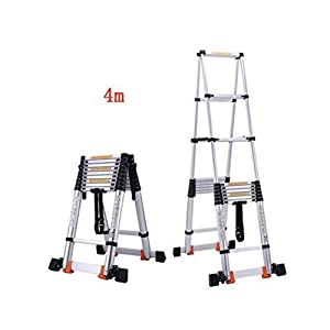 Nuokix Ladder Household Shrink Formula Straight Ladder Double Sided Dual Use Ladder Engineering Attic Fold Province Space Ladder (Color : 4.5m)