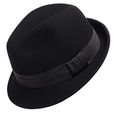 90544a338db Wool Felt Trilby Snap Brim Fedora Hat at Amazon Men s Clothing store