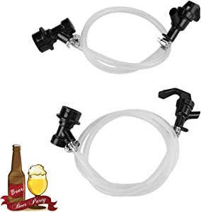 Liquid Dispensing Tube Kit for Homebrew, 3ft Clear Ball Lock Beer Line, 3/16'' Keg Quick Disconnect Draft Beer Line Assembly with 2 Picnic Faucet & 4 Food-Grade Hose Clamps