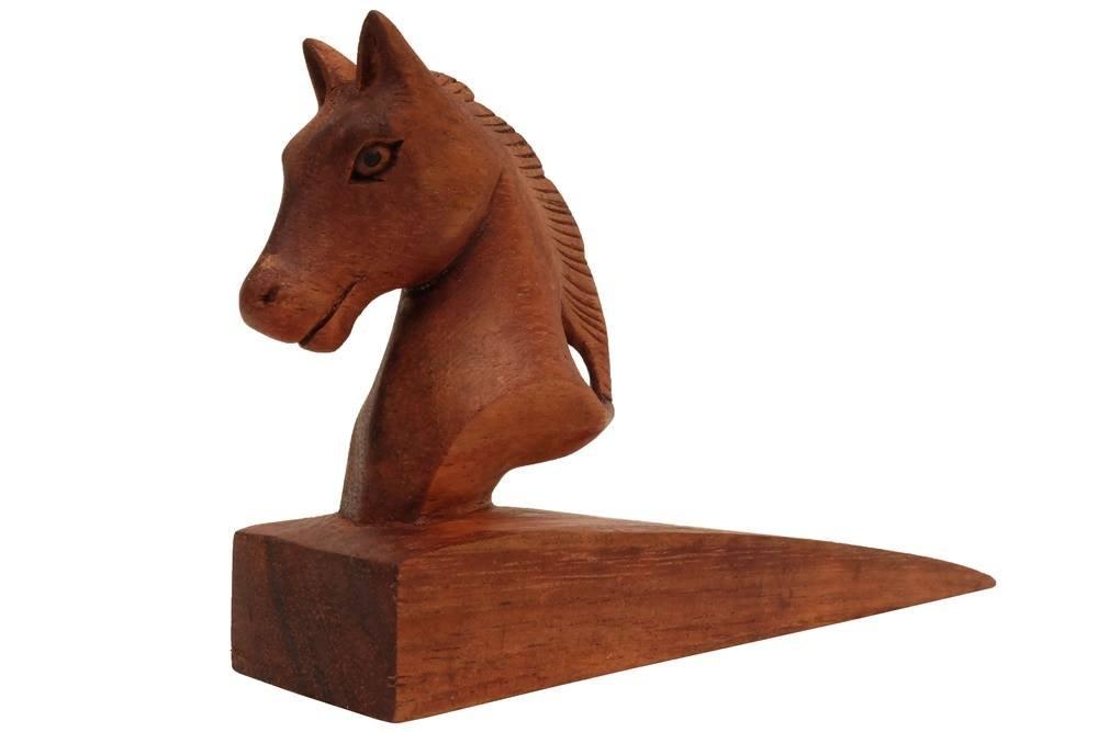 Decorative Wooden Door Stopper/Doorstop Holder Hand Carved in a Animal Shape Floor Blocker Closers. ( Brown Horse)