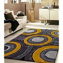 RUGADDICTION Hermosa Alfombra Color Gris y Amarillo hecha a mano estilo moderno suave y lujosa , gruesa pila de tamaño 5 'x 7 ' pies