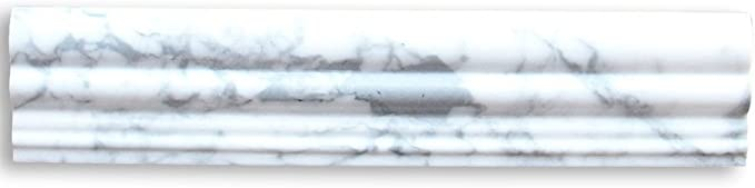 Stone Center Online Carrara White Marble 2 1 2x12 Chair Rail Trim Molding Polished For Kitchen Backsplash Bathroom Flooring Shower Surround Dining Room Entryway Corrido Spa 1 Piece Marble Tiles