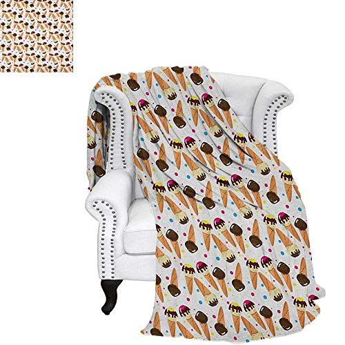 Ice CreamOffice Throwing blanketChocolate Covered Ice Cream with Colorful Little Dots Frozen Desert Waffle ConesOffice Warm Blanket 60
