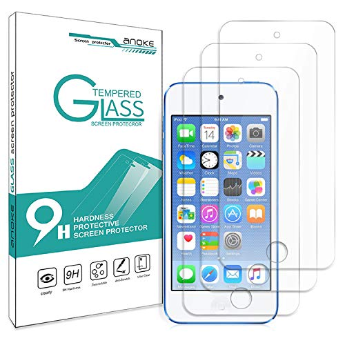 iPod Touch 5th / 6th Generation Glass Screen Protector,[3 Pack] AnoKe(0.3mm 9H) Tempered Glass Screen Protector Film Shield for Apple iPod Touch 5/6-3Pack (Ipod Touch Screen Shield)