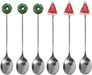 Gracelife 6-Pack Stirring Espresso Spoon Stainless Steel Tiny Spoon for Dessert Cream Coffee Spoon (Santa Hat + Donut)
