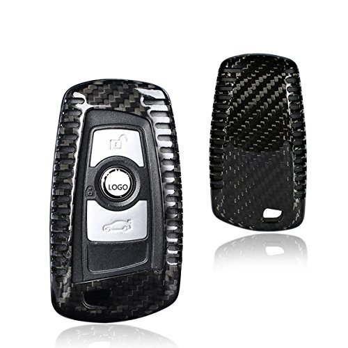 MODIPIM Keyless Entry Remote Cover Carbon Fiber Key Case Fob Holder Shell Fit BMW X3 M3 M5 M6 1/2/3/4/5/6/7 Series 3/4-Buttons Color Black ()