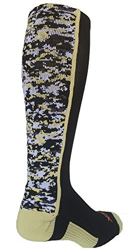 TCK Sports Digital Camo Over The Calf Socks (Black/Vegas Gold, Small) - Camouflage Toe Socks