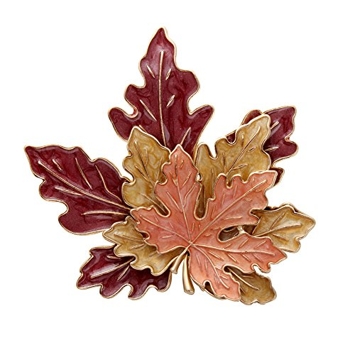 SENFAI Tri-Color Metal Maple Leaf Fashion Brooch Retro Oil Lapel Pins (2) - Maple Leaf Pin Brooch