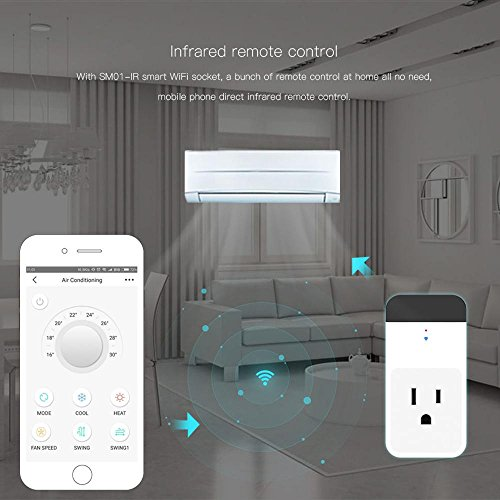 Teepao WiFi Smart Mini Plug IR Control Air Conditioner Works with Alexa and Google Home, Wireless Remote Control Electrical Outlet Switch with Energy Monitoring, Support Voice and Phone App Controlled by Teepao (Image #4)