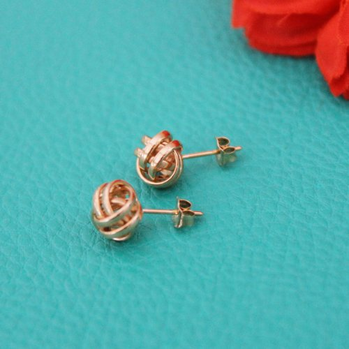 14k White Gold Love Knot Stud Earrings - 10mm by Beauniq (Image #2)