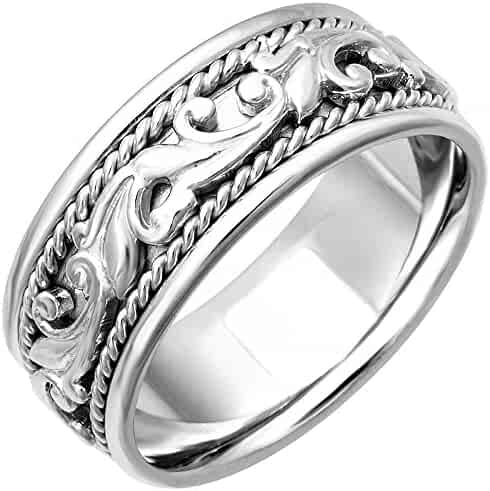 14K White Gold Floral Paisley Men's Comfort Fit Wedding Band (9mm)