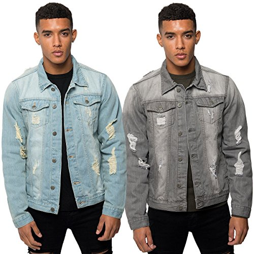 Loyalty & Faith Mens Designer Branded L/Sleeve Ripped Scuffed Denim Jacket (Large, Grey Wash)