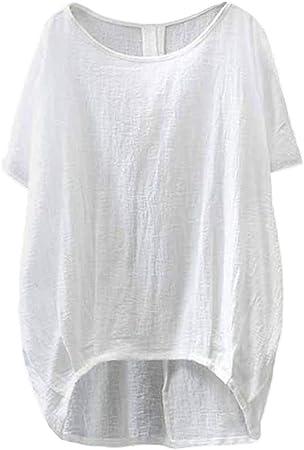 Jiyait - Camiseta de Manga Corta para Mujer (Talla Grande, Lino, Informal, Lisa, asimétrica), Casual, XL, Blanco: Amazon.es: Deportes y aire libre