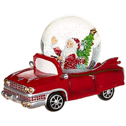 "Musical Santa Figurine Up Wind - Wind Up Musical Santa in Red Car Snowglobe Water Globe ""We Wish You a Merry Christmas"""