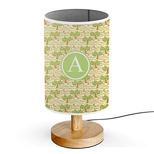 [ INITIAL LETTER A ] Monogram Name USB POWERED Wood Base Desk Table Bedside Lamp [ Hand Drawn Palm Trees Beach ()