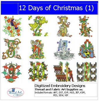 Machine Embroidery Designs - 12 Days of Christmas(1) 1 Embroidery Design