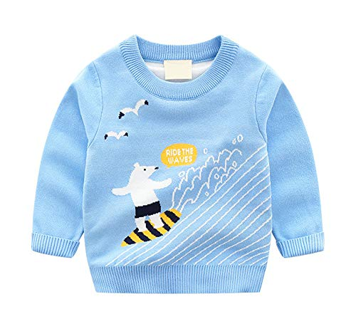 HUAER& Baby Boys Girls Knit Sweater Unisex Cotton Cartoon Animal Pullover Sweatshirt (4T(Height:37-39 inch), Sky Blue & Surf Bear(2 Layers ()
