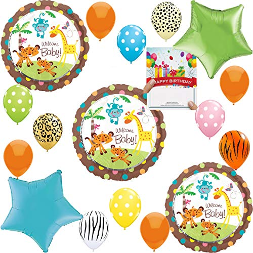 Jungle Safari Baby Shower Party Supplies Balloon Decoration Bundle]()