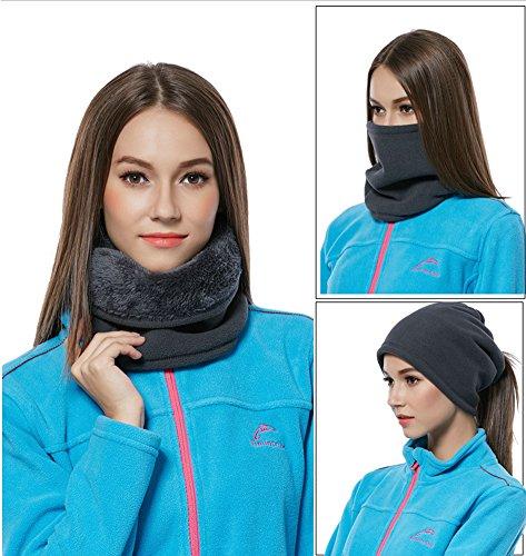 Leories Winter Windproof Polar Fleece Neck Warmer Balaclava Hooded Face Mask Ski Hood Snowboard Mask Black