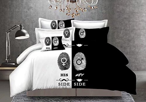 QzzieLife Soft Microfiber His and Hers Bedding Set for Couples 3PC Duvet Cover Set Queen Size White/Black (Comforter Sets Queen For Couples)