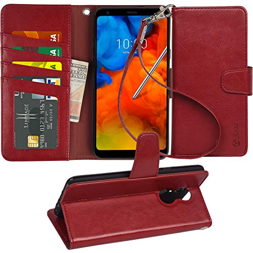 - LG stylo 4 Case, LG Q Stylus/Q Stylus+ / Q Stylus α case, Arae [Stand Feature] PU Leather Wallet case with Wrist Strap and [4-Slots] ID&Credit Cards Pocket for LG stylo 4 (Wine red)