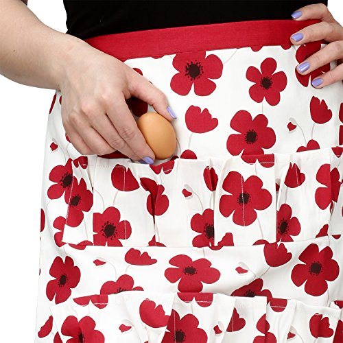 Cackleberry Home Egg Collecting & Gathering Apron 12 Pockets, Red Poppies (Egg Pocket)