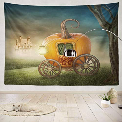 ONELZ Decor Collection,Pumpkin Carriage Isolated On White Background Bedroom Living Room Dorm Wall Hanging Tapestry 50 L X 60 W Polyester Polyester Blend