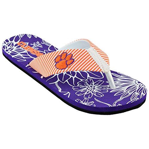 Tigers Flip Flop Sandals - Women's Stripped Floral Flip Flops (XL 11-12, Clemson Tigers Orange/Purple)