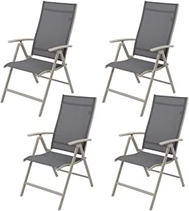 Crestlive Products Set of 4 Patio Dining Chairs, Outdoor Folding Chairs, 4-Pack Portable Chairs, Adjustable Recliner Sling Chair with Armrest for Camping, Beach, Garden, Pool, Lawn, Deck (Dark Gray)