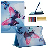 Uliking Galaxy Tab S2 9.7 Smart Case, Synthetic Leather Shockproof TPU Wallet Card & Pencil Holder Case [Auto Sleep/Wake] Magnetic Stand Cover for Samsung Galaxy Tab S2 9.7 T810/T815,Blue Butterfly