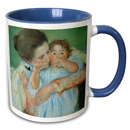 - 3dRose BLN Paintings of Children Fine Art Collection - Mother and Child against a Green Background by Mary Cassatt - 15oz Two-Tone Blue Mug (mug_169650_11)