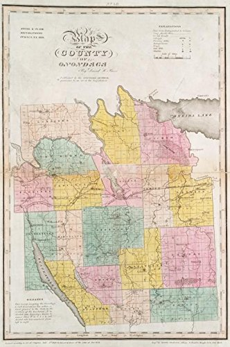 Historic 1829 Map   Map of the county of Onondaga   Antique Vintage Map Reproduction