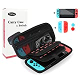 Carrying Case with Tempered Glass Screen Protector for Nintendo Switch, 20 Game Storage Slots, Premium Hard Shell Travel Carry Case Pouch for Nintendo Switch Console & Accessories by FireDeer (Case)