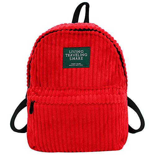 Monique Women Retro Solid Color Corduroy Backpack Small Casual Daypack Shoulders Bag Students Schoolbag Red