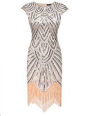 Acevog Women's 1920s Gastby Sequined Embellished Fringed Flapper Dress
