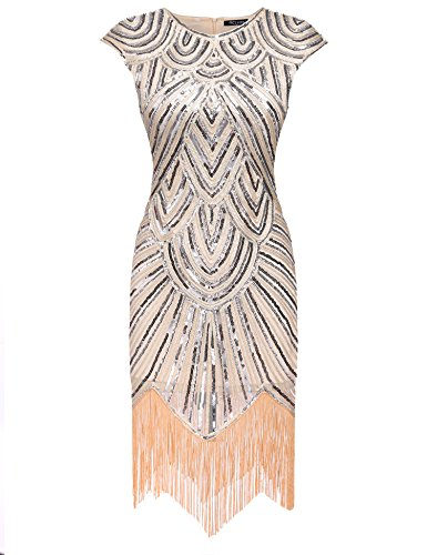 [Acevog Women's 1920s Gastby Sequined Embellished Fringed Flapper Dress (Medium, Beige)] (Gatsby Dress Cheap)