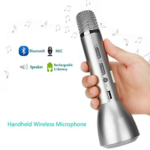 Costume Set Tv (F.Dorla Bluetooth Handheld Wireless Microphones for Karaoke Singing and Music Playing Compatible with Apple iPhone Cellphone Andriod Smartphone)
