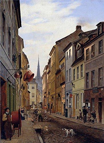 oil-painting-eduard-gaertner-die-parochialstrasse-printing-on-polyster-canvas-20-x-27-inch-51-x-70-c