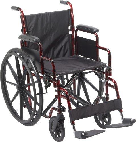 Drive Medical Rebel Lightweight Wheelchair, Red