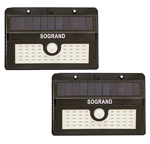 Sogrand Solar Motion Sensor Light Outdoor 45 Led Security Lights Waterproof Bright Wireless Wall Lamp Dusk to Dawn Night Flood Lighting for Outside Driveway Door Garage Path 2 Pack