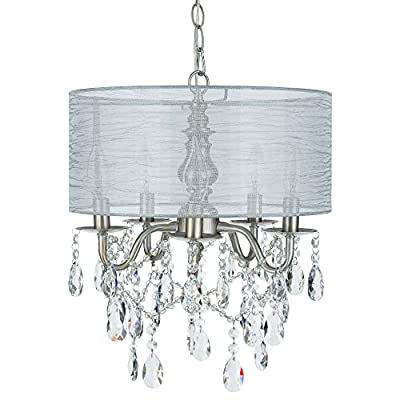Amalfi Decor Luna 5 Light Crystal Chandelier with Drum Shade, Beaded Plug-In Pendant Ceiling Lighting Fixture