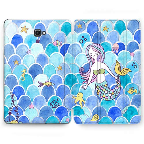 Wonder Wild Mermaid Wave Samsung Galaxy Tab S4 S2 S3 A E Smart Stand Case 2015 2016 2017 2018 Tablet Cover 8 9.6 9.7 10 10.1 10.5 Inch Clear Design Princes Mythic Creature Underwater Octopus Starfish ()