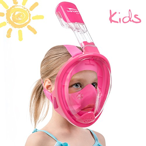 - Usnork Full Face Snorkel Mask for Kids and Adults - Snorkel Set with 4 Bonus Items - Anti-Fog and Anti-Leak Easybreath Snorkeling Gear - Dive Scuba Mask with 180 Panoramic View (Pink Kids, X-Small)