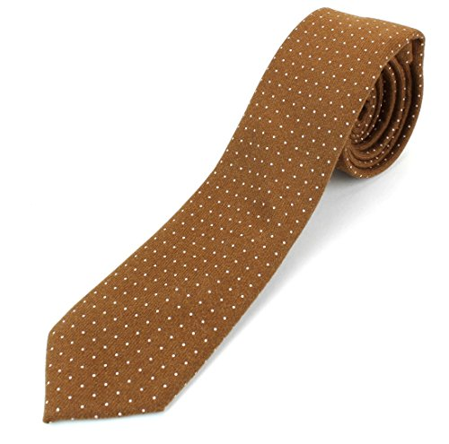 (Men's Cotton Skinny Necktie Tie Dark Color White Polka Dot Pattern - Light Brown)