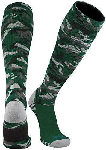 TCK Sports Elite Performance Over The Calf Camo Socks (Dark Green Camo, Medium) - Camouflage Toe Socks