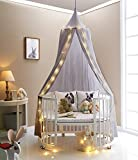 HKH Kids Baby Bedding Round Dome Bed Canopy Netting Bedcover Mosquito Net with Light (Grey)