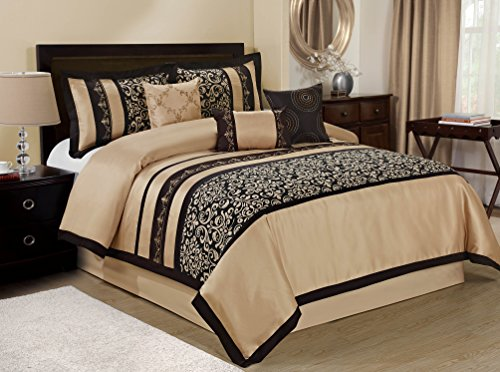7 Piece ODESA Print & Embroidery Comforter Set-Queen King Cal.King Size (Queen, Taupe/Black) (Nice Comforter Sets)