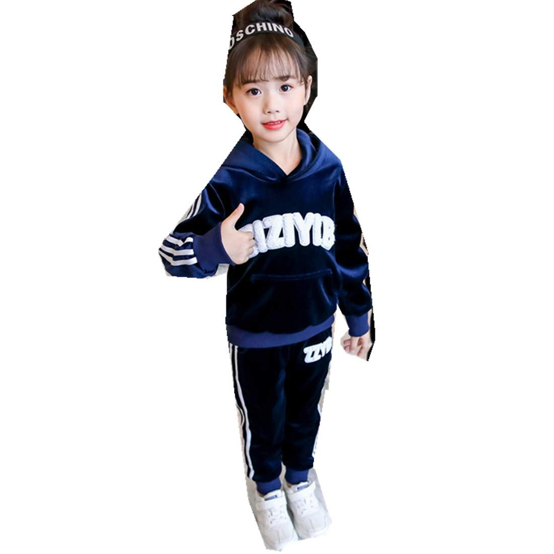 MV Autumn New Childrens Casual Long-Sleeved Hooded Two-Piece Girl Child Suit