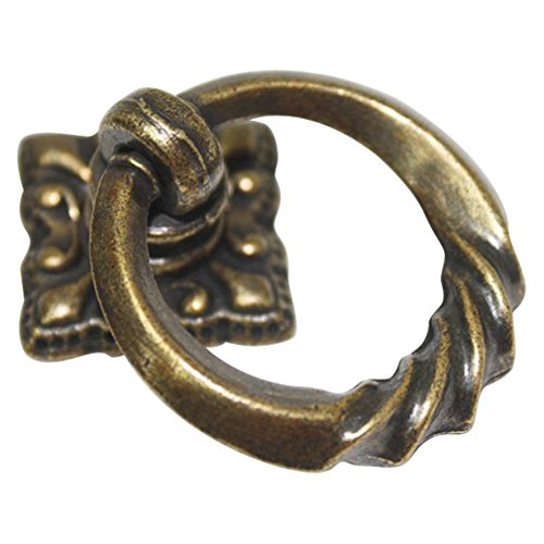JC Handle Vintage Brown 35mm Drop Ring Knobs Dresser Chest Cabinet Drawer Pulls